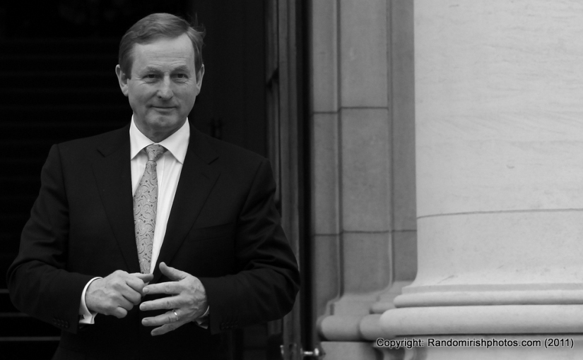 Fine Gael leader Enda Kenny enters The Taoiseach's Office for the first time