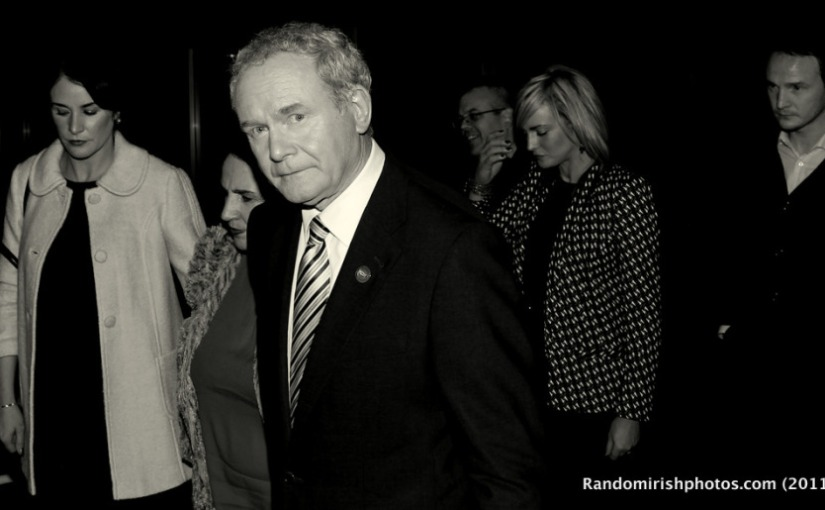 Photo of Martin McGuinness arriving at the RTE Frontline debate