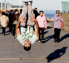 Photo of someone doing parkour