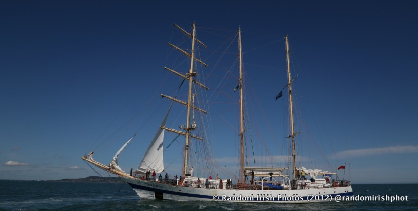 Photo of a tall ship outside Dublin Port