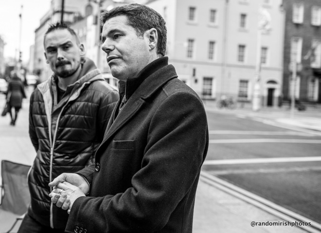 Transport Minister Paschal Donohoe in a photograph outside Dail talking to campaigners on Jake's Law
