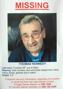 Poster appeal for information about Mr Kennedy after he disappeared.